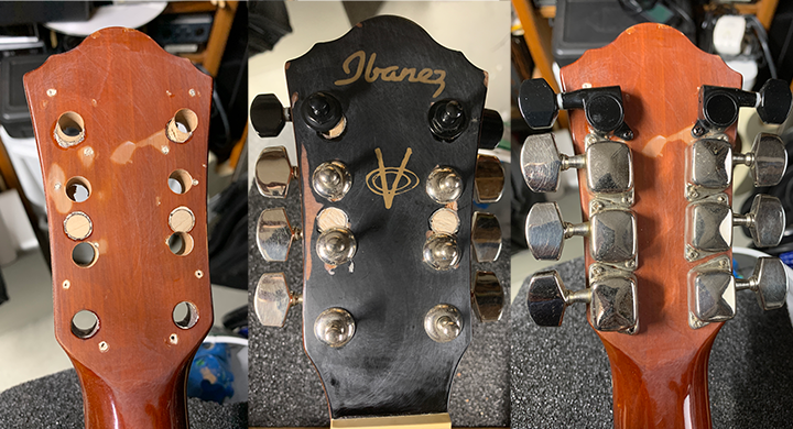 drilled holes in headstocks, tuners mounted