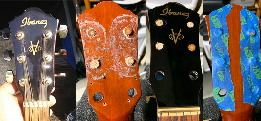 a series of 4 photos. The before photo of the headstock on the left, two middle photos show plugged tuner peg holes.  One on the right shows drilling template.