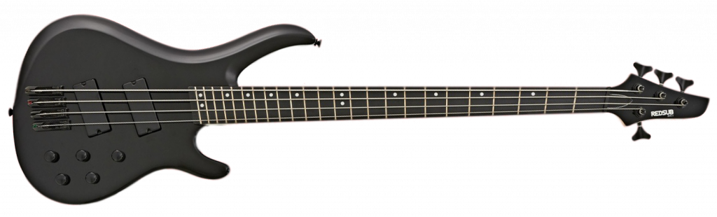 RedSub Infinity bass guitar in gloss black, fanned fret, 4 string model